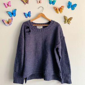 Wildfox Medium Distressed Indigo Sweater Knit Blue